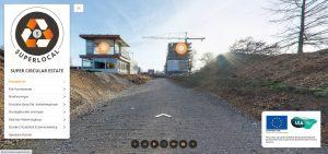 Startscherm virtuele tour met expogebouw, flat en hijskraan